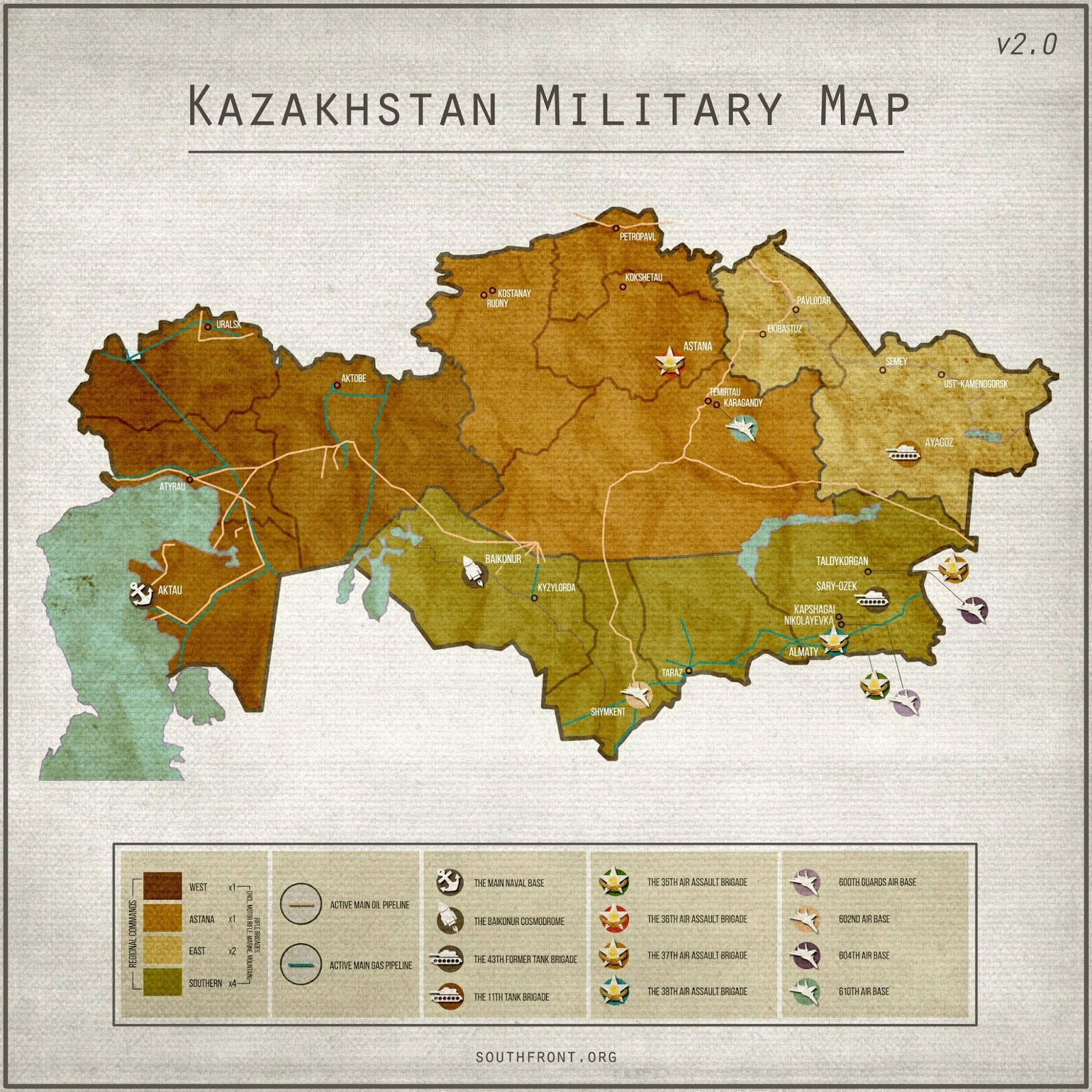 Kazakhstan military map