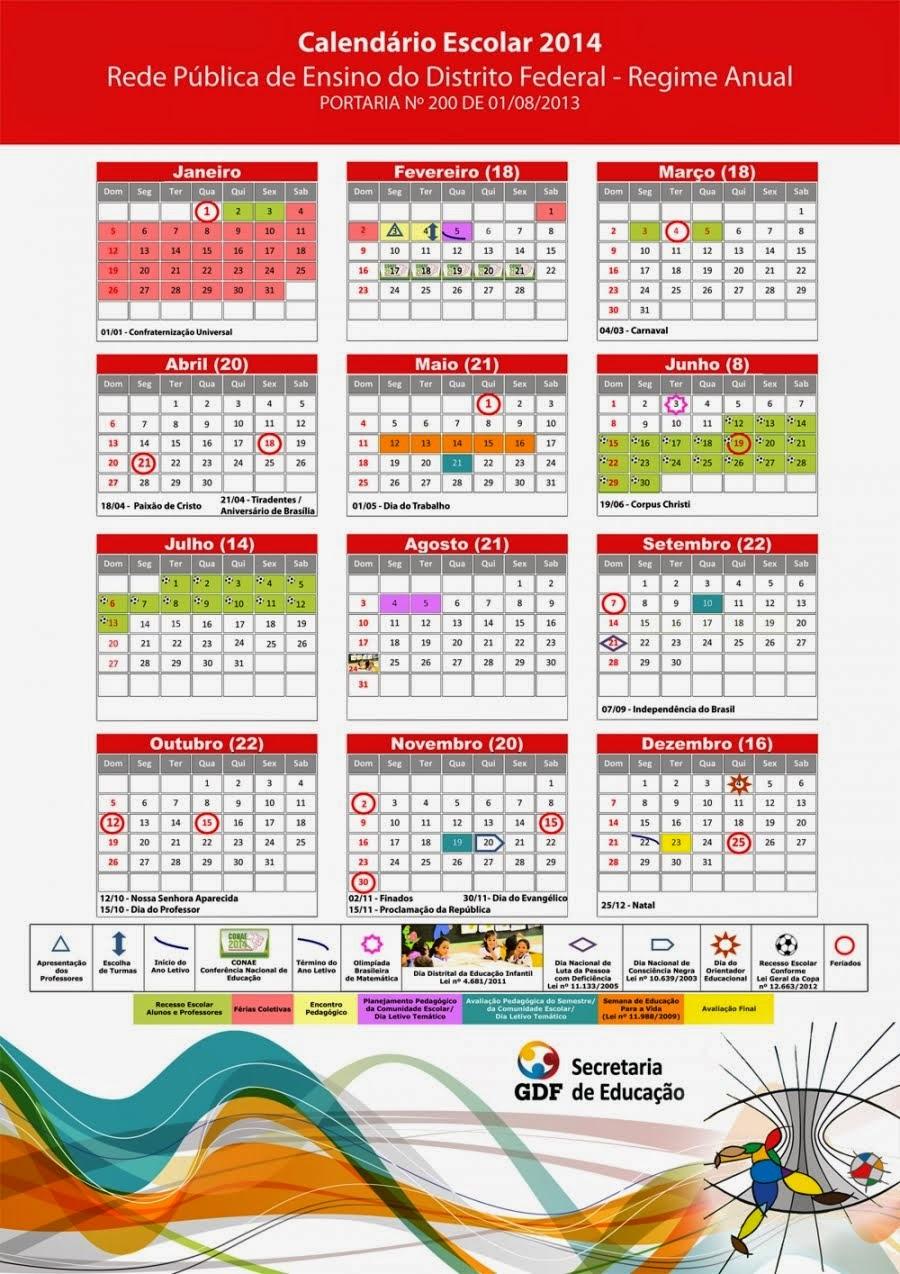 Calendário SEDF/2014