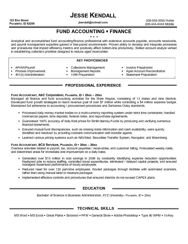 Accounting Resumes Examples | Resume Format Download Pdf