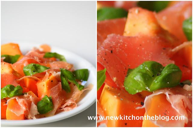 Papaya-Salat mit Parmaschinken