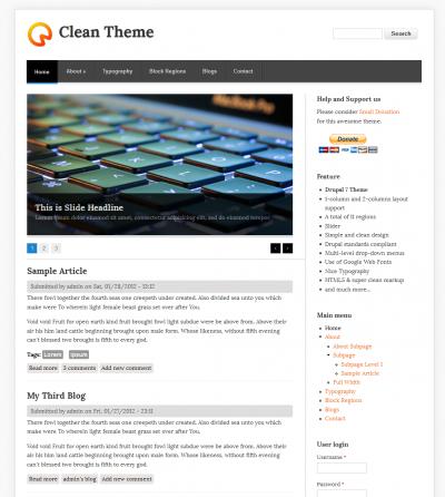 Clean - Free Drupal Theme