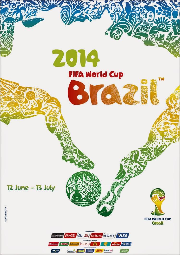 Cartaz e mascote oficial da Copa do Mundo realizada no Brasil no ano de 2014.