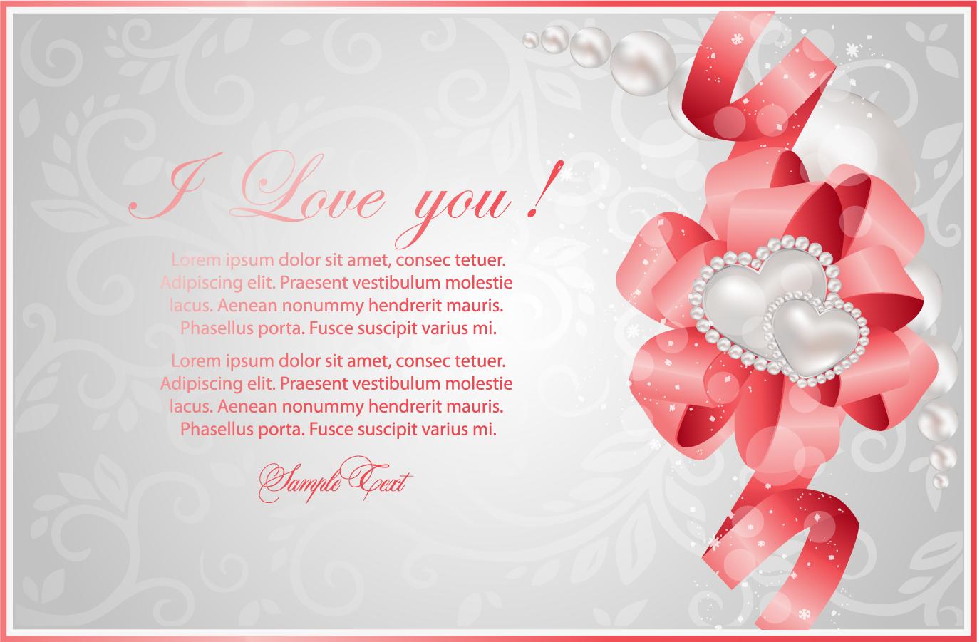 ハート リボン飾りのバレンタインデー カード Heart valentine's day greeting card イラスト素材