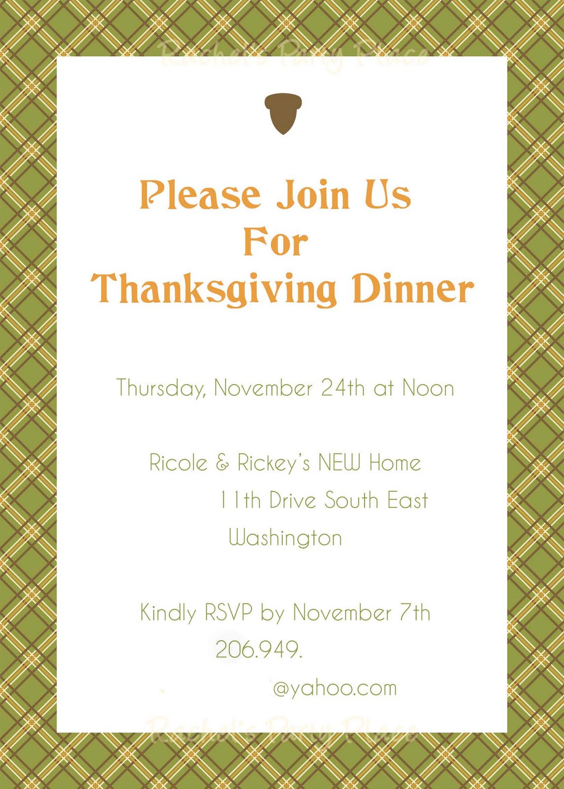 Rachel's Party Place: Thanksgiving Dinner Invitations