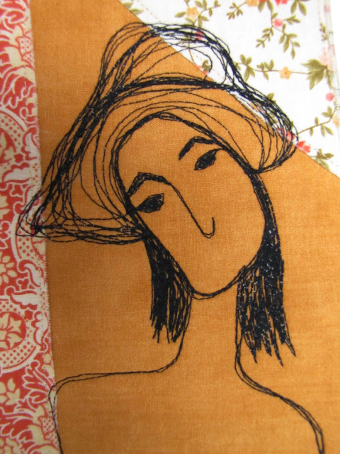 My name is Peaches ....I am a thread sketched fabric art card