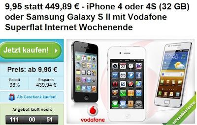 Samsung Galaxy 2 plus Vodafone Superflat bei Groupon für 9,95 Euro