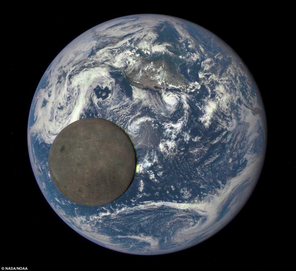 Satellite shoot the moon through the Earth
