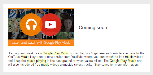 YouTube Music Key will be free to Google Play Music All Access subscribers