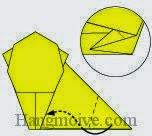 Bước 10: Gấp góc giấy vào trong ở giữa hai lớp giấy.