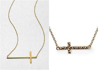 Sideways cross necklaces - Jennifer Zeuner & House of Harlow