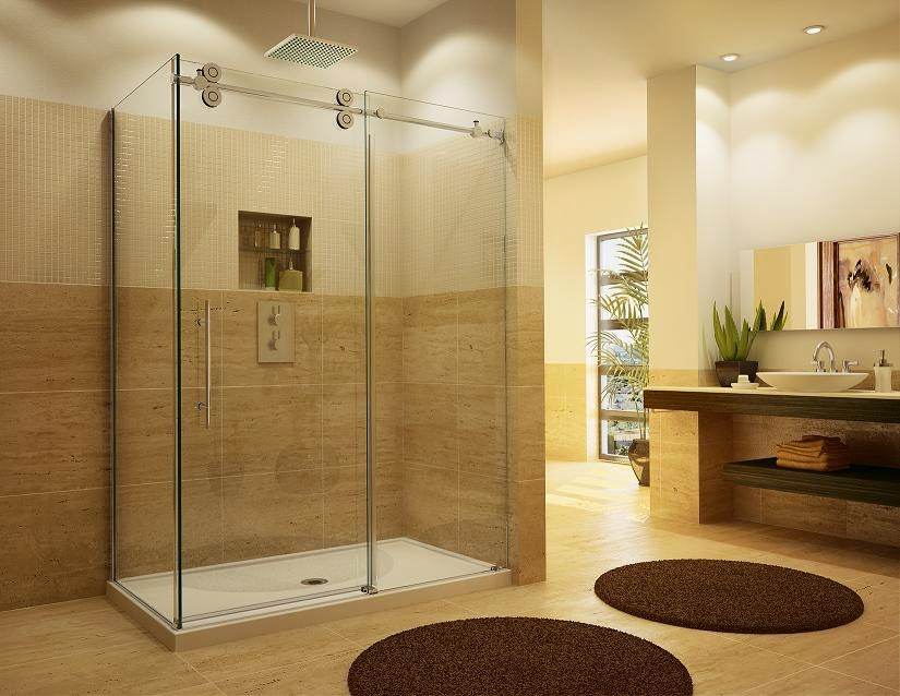 Sliding Frameless Shower Doors Can Be Made With Plexiglass As Well As Clear  Thick Glass