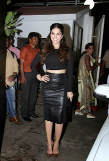 Sunny Leone in Jet Black Tight Top and Black Leather Skirt at Special Screening of Leela Ek Paheli Movie Stunning Pics