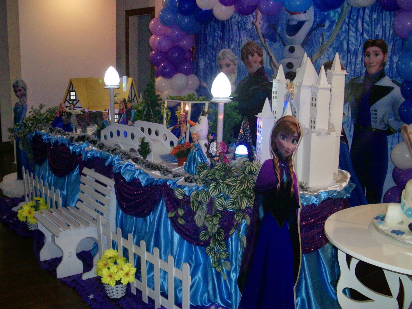 Tema da Frozen para festa infantil Decoração de aniversário de  #1F366E 1600x1200