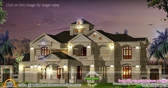 5 bedroom colonial style luxury villa kerala home design for Colonial style house plans kerala