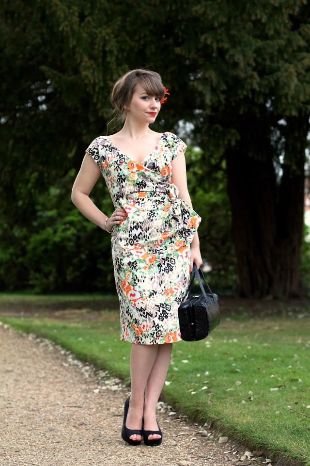 Floral wiggle dress and black accessories