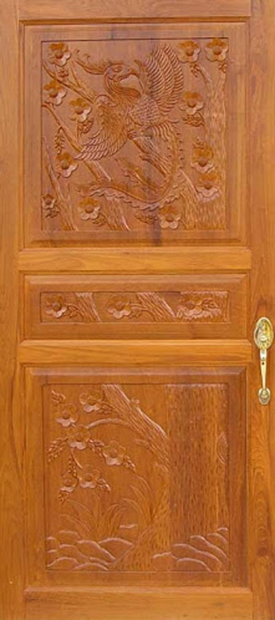 Wood design ideas latest kerala model wood single doors for Front door design in india
