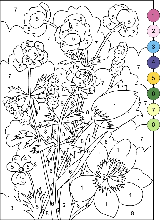 COLOR BY NUMBERS FLOWERS Coloring Page