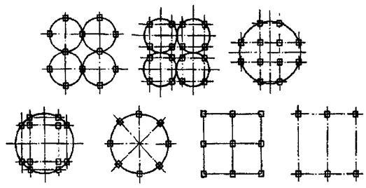 Конструктивные системы каркасных зданий с сосредоточенным расположением диафрагм жесткости