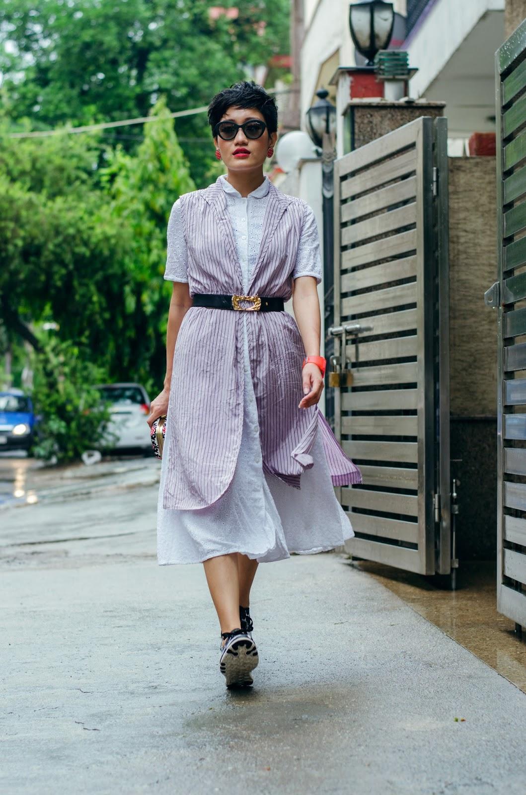 shirt dress, pin stripe vest, aien jamir, tarini nirula bags, indian blogger, fashion blogger, nike sneakers
