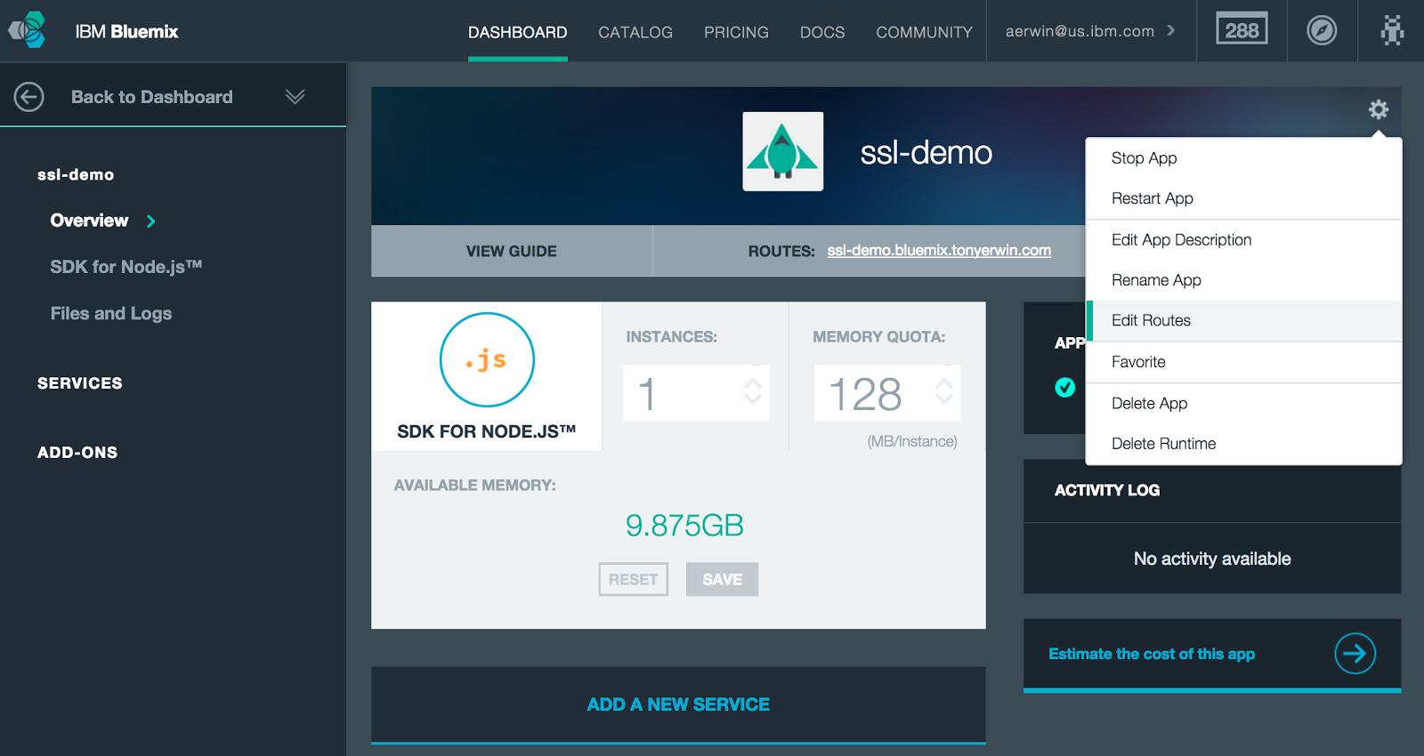 Bluemix UI: App Details Showing Same App With Gear Menu