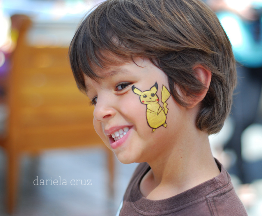 Pikachu Face Paint http://www.mamitalks.com/2012/10/wordless-wednesday-pikachu.html