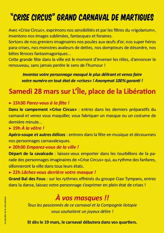 Carnaval Crise Circus de Martigues le Samedi 28 Mars 2015 !