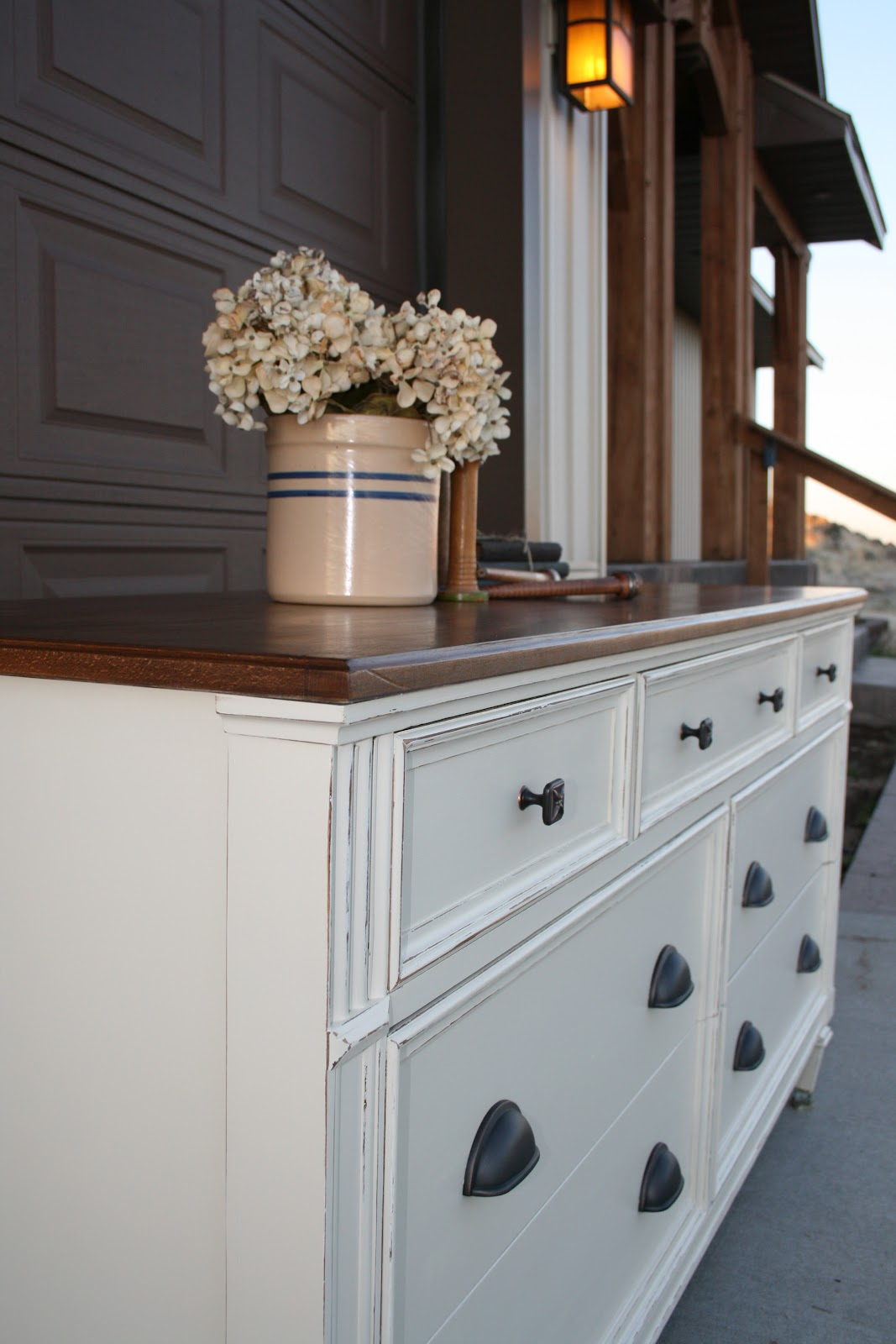 Antique recreation dresser makeover in cream and wood Cream wooden furniture