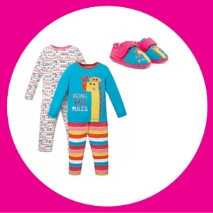 Unisex and funky giraffe colourful pyjamas and toddler slippers
