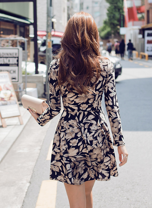 Floral Silhouette Wrap Style Dress
