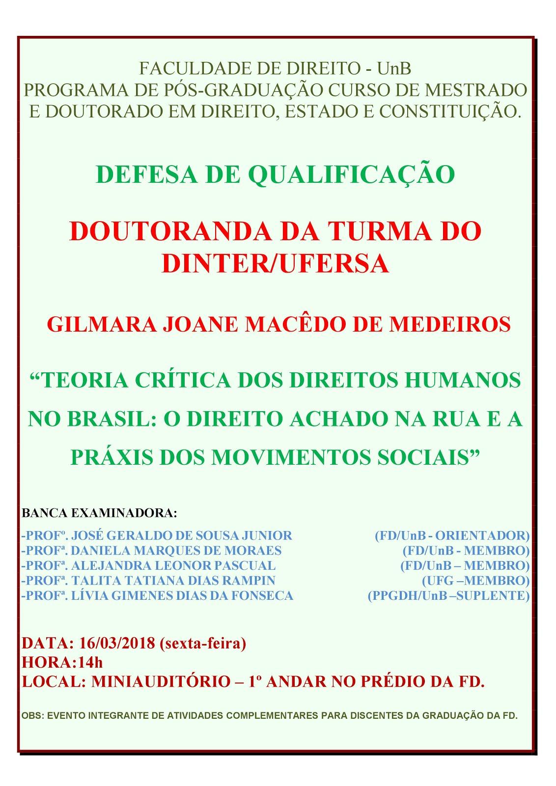 Convite para qualificação de Tese de Doutorado