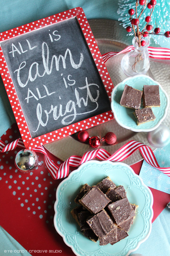 chalkboard art, holiday art, all is calm all is bright, hand lettering