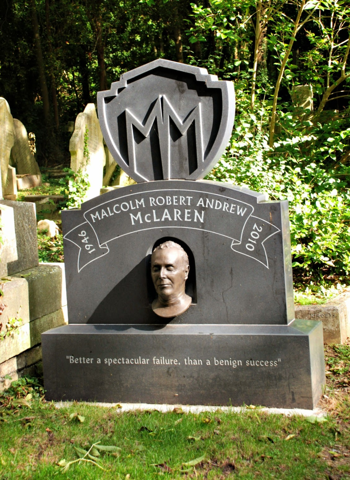 Malcolm McLaren's memorial, Highgate Cemetery, London