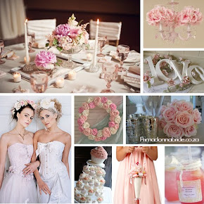 Shabby  chic pink &amp; white