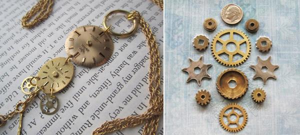 adornos con materiales reciclados reloj