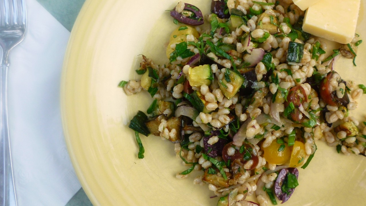 For Love of the Table: Mediterranean Eggplant & Barley Salad