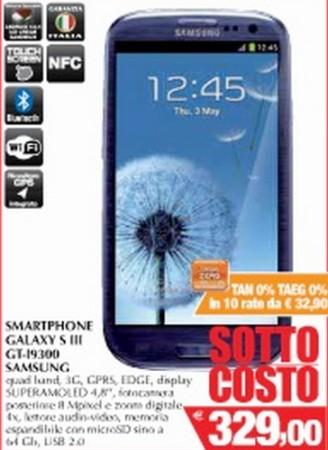 Conad Leclerc propongono il Samsung Galaxy S III in sottocosto e con finanziamento a tasso zero in alcune regioni d'Italia