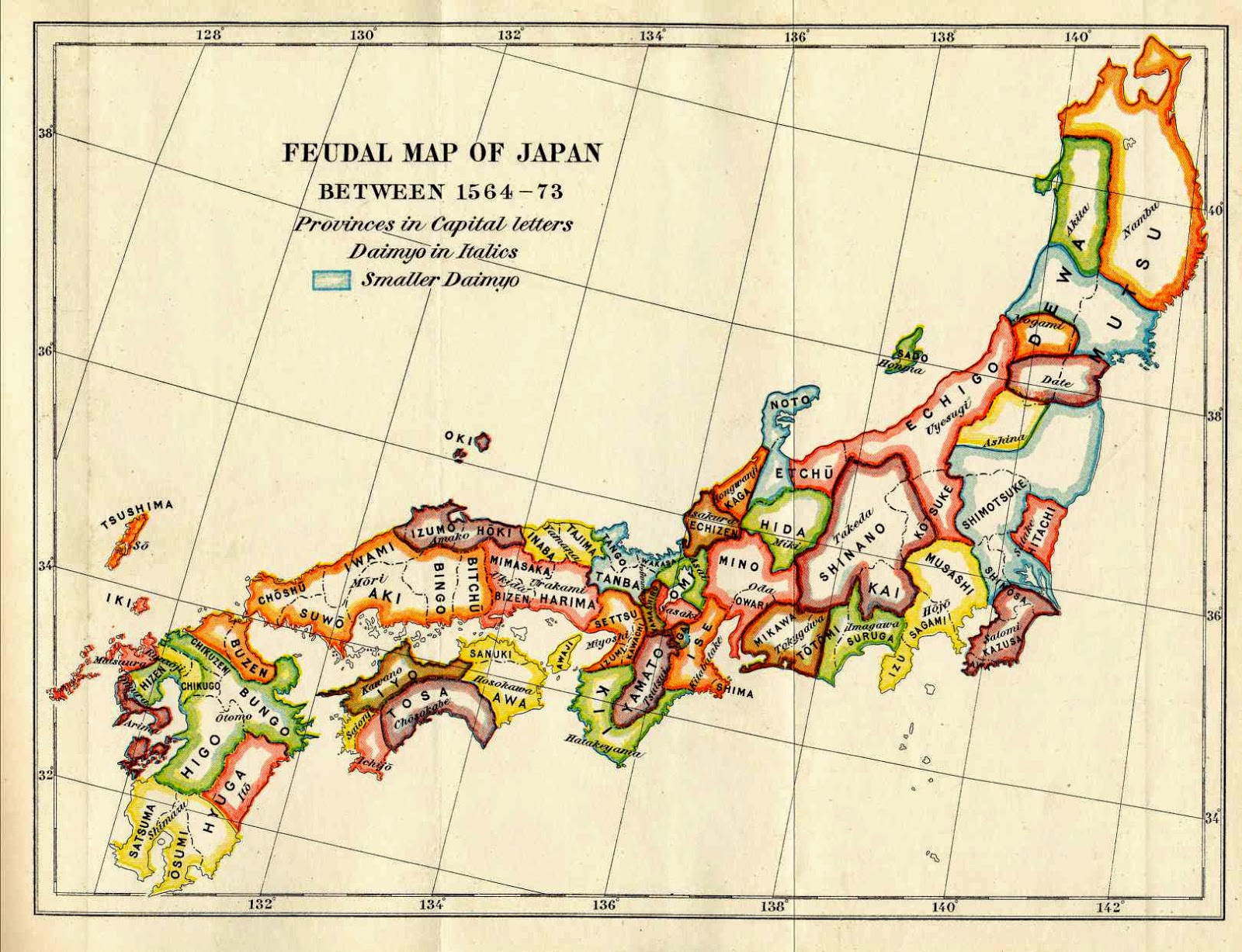 Ancient map of Japan in warring states period: the Sengoku Jidai.