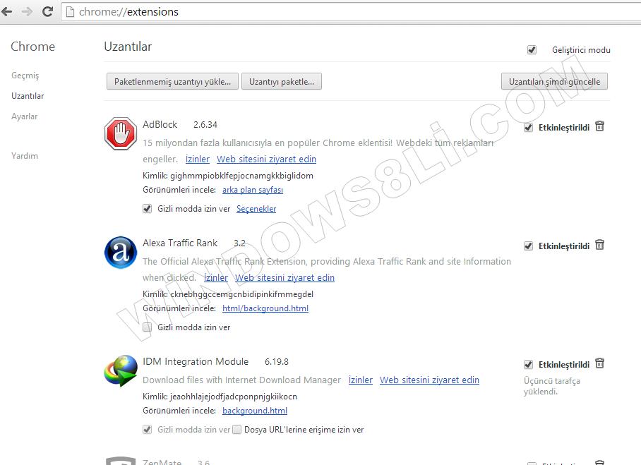 Google Chrome Eklenti Kaldır