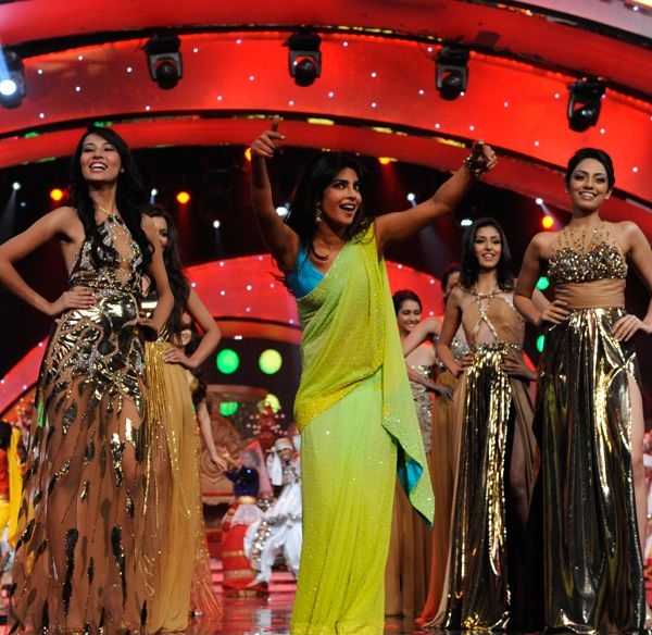 Bollywood diva Priyanka Chopra shows her moves at the Pond's Femina Miss India 2013 contest, held at Yash Raj Studios, in Mumbai, on March 24, 2013.