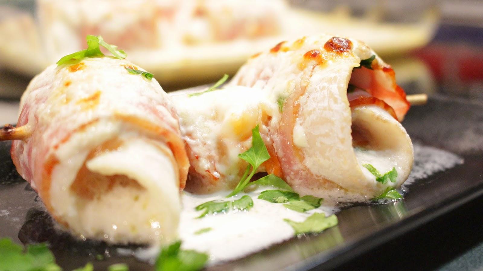 Recetas para tres rollitos de merluza y bacon gratinados for Cocinar filetes de merluza