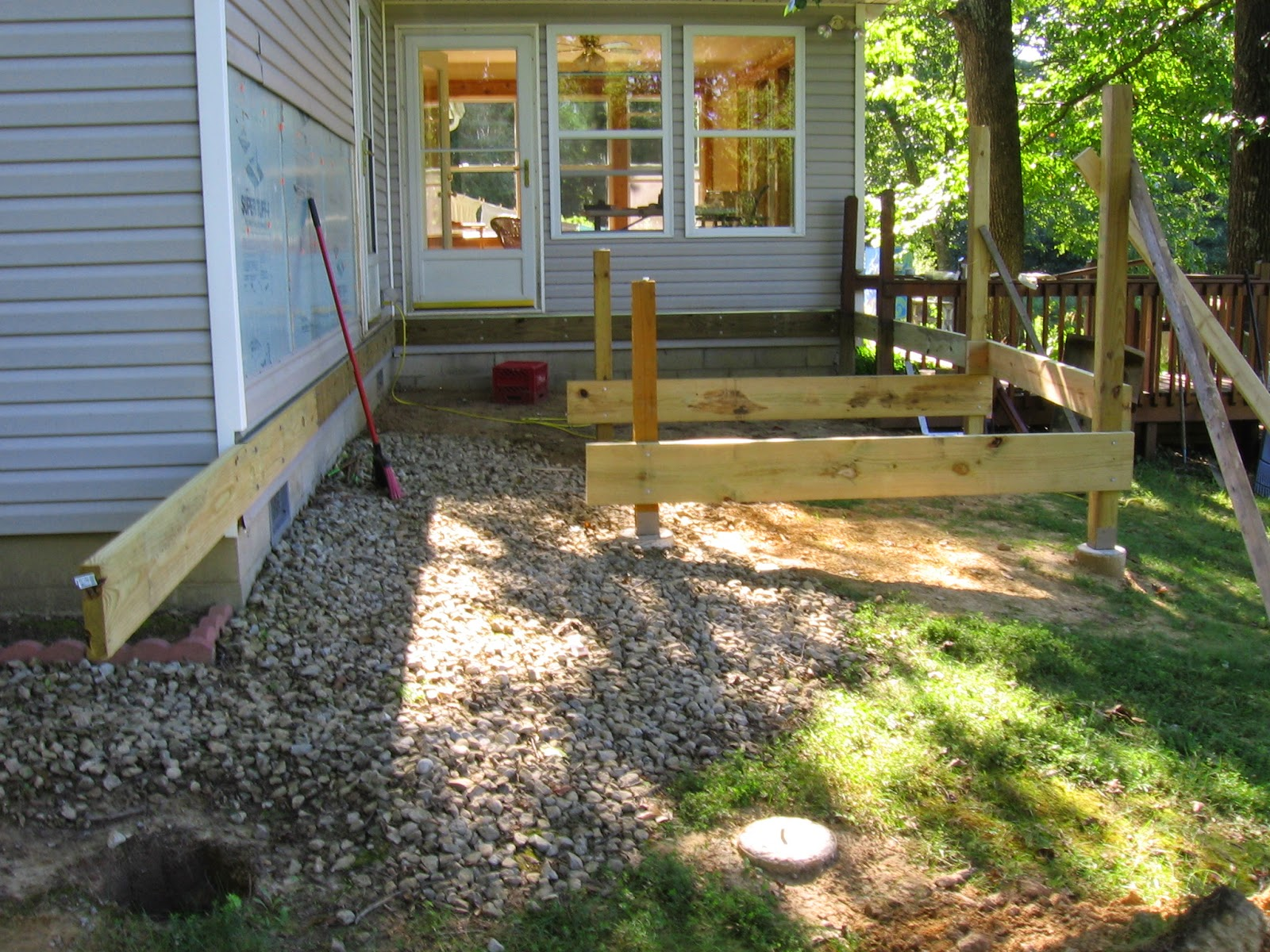 Attaching deck to house with siding - This Morning I Set In The Post At The End Of The Ledger Board This Is The Only Post That Was Not Set On A Concrete Footer