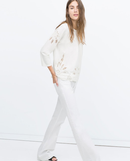 white embroidered top, zara white top,