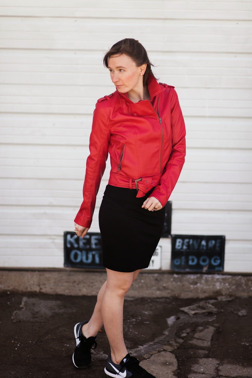Red Leather Jacket, Black Skirt, Fashion Blogger, Stilettoed to Steeltoed, Nike