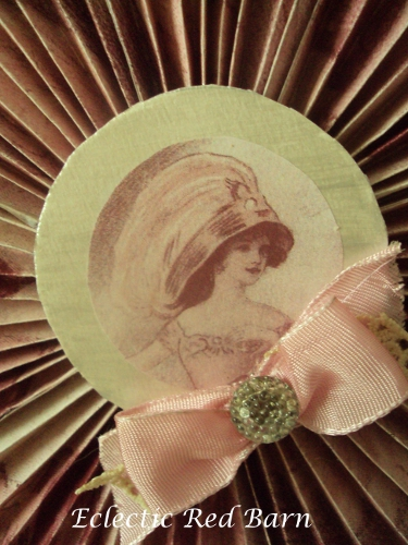 Pink lady as center of frame with ribbon