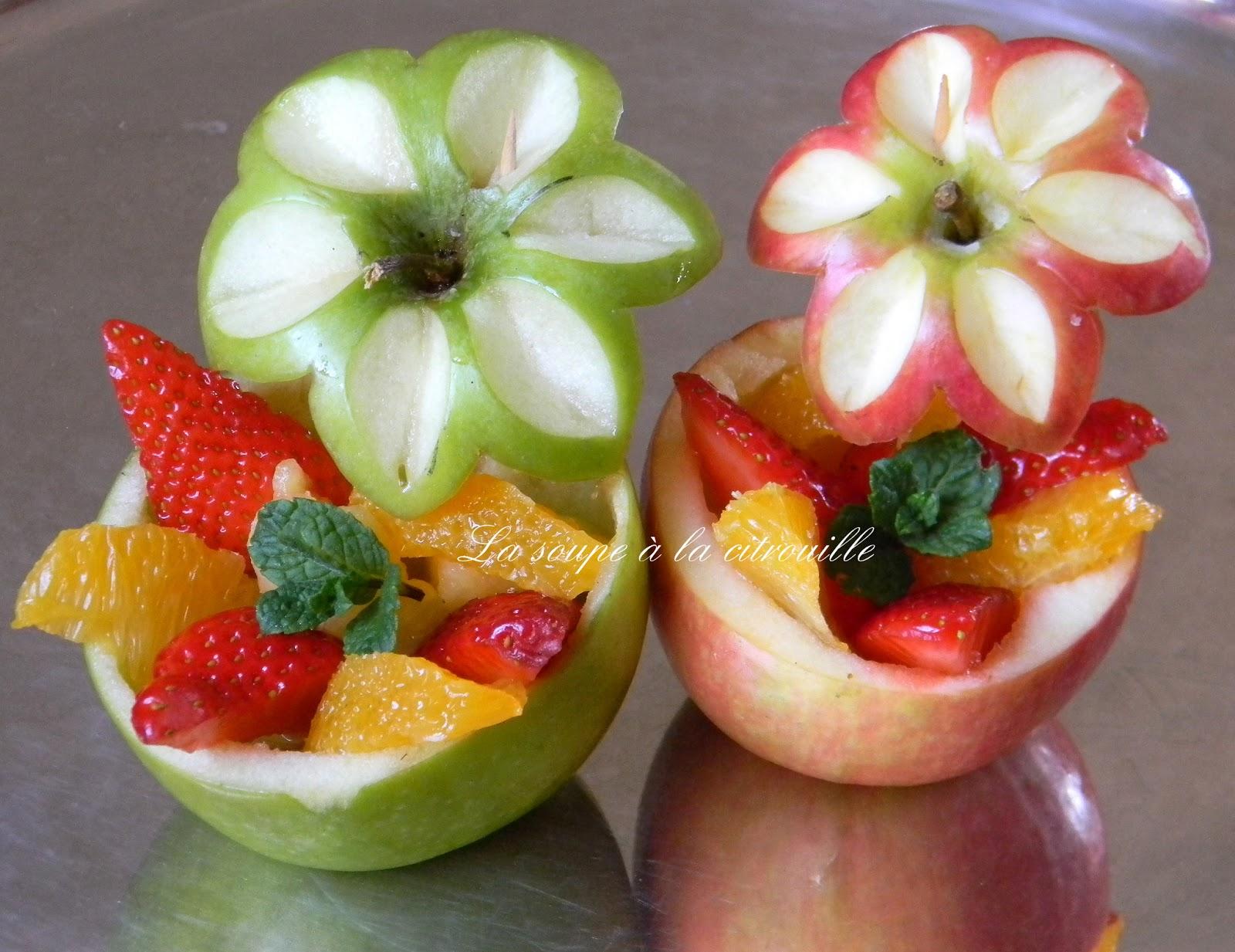 La soupe la citrouille les pommes fleurs for Decoration de plat avec des legumes