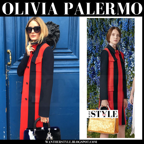 Olivia Palermo in red and black striped coat Dior spring 2016 what she wore chic style
