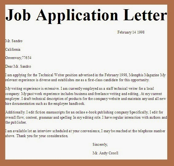 Example of application letter in nigeria « Foures