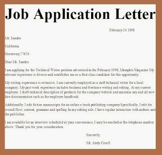 Job Application Letter University