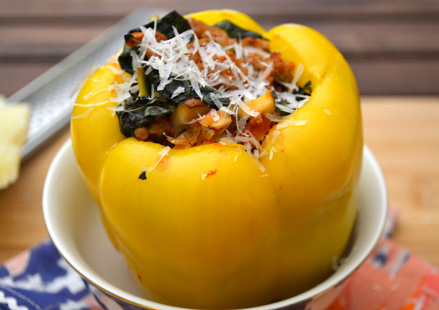 Mushroom and Kale Stuffed Peppers Recipe