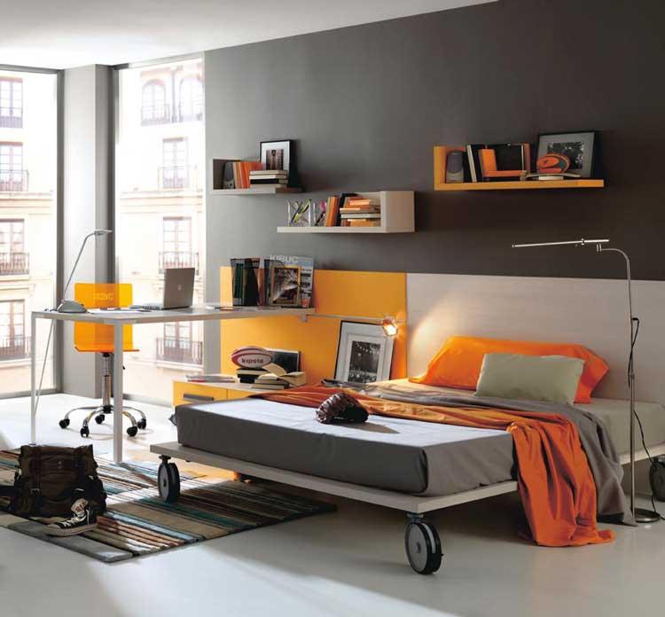 Grey And Orange Modern Teen Bedroom Color
